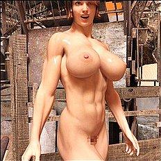Horny big tits, 3d, outdoor hentai set