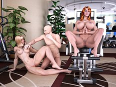 Fabulous 3d, big tits, group, blowjob hentai set